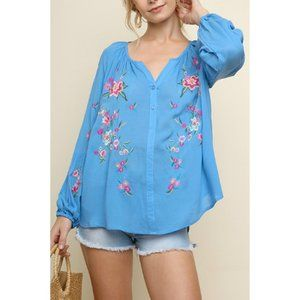 UMGEE Puff Sleeve Top Floral Embroidery